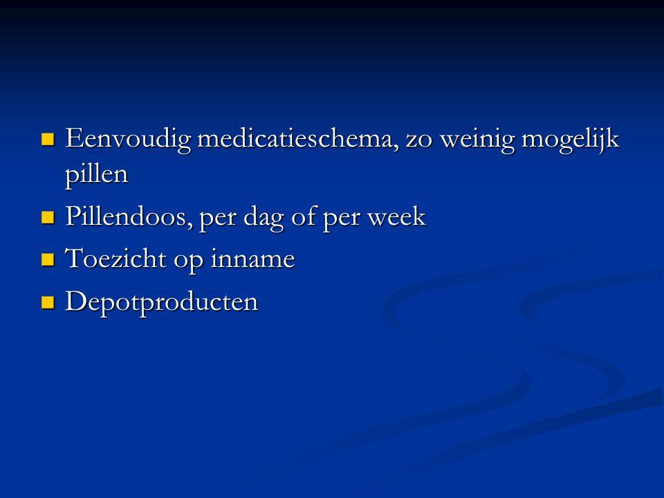 Eenvoudig medicatieschema, zo weinig mogelijk pillen Eenvoudig medicatieschema, zo weinig mogelijk pillen Pillendoos, per dag of per week Pillendoos, per dag of per week Toezicht op inname Toezicht op inname Depotproducten Depotproducten