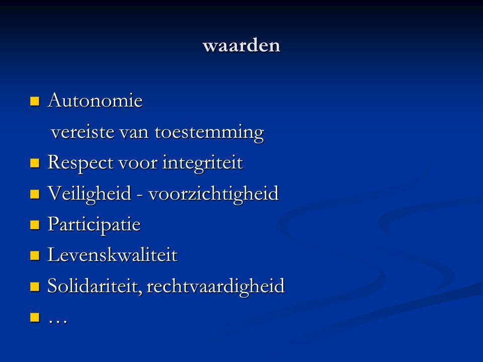 waarden Autonomie Autonomie vereiste van toestemming vereiste van toestemming Respect voor integriteit Respect voor integriteit Veiligheid - voorzicht