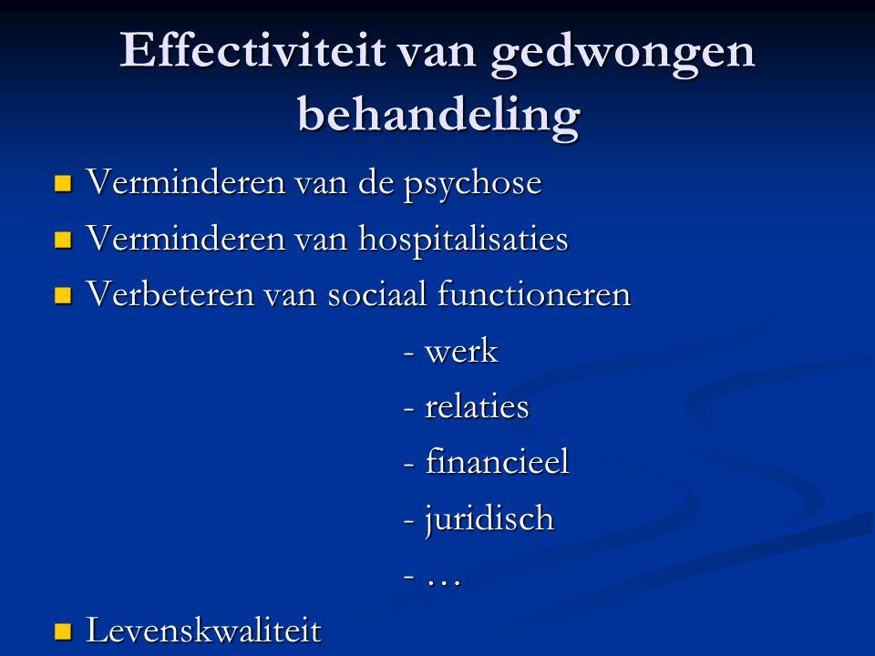 Effectiviteit van gedwongen behandeling Verminderen van de psychose Verminderen van de psychose Verminderen van hospitalisaties Verminderen van hospit