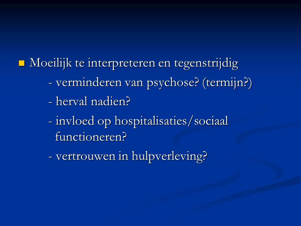 Moeilijk te interpreteren en tegenstrijdig Moeilijk te interpreteren en tegenstrijdig - verminderen van psychose? (termijn?) - herval nadien? - invloe