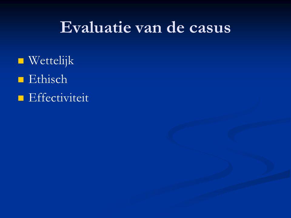 Evaluatie van de casus Wettelijk Ethisch Effectiviteit