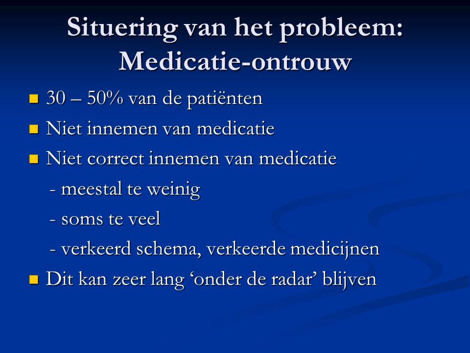 Situering van het probleem: Medicatie-ontrouw 30 – 50% van de patiënten 30 – 50% van de patiënten Niet innemen van medicatie Niet innemen van medicatie Niet correct innemen van medicatie Niet correct innemen van medicatie - meestal te weinig - meestal te weinig - soms te veel - soms te veel - verkeerd schema, verkeerde medicijnen - verkeerd schema, verkeerde medicijnen Dit kan zeer lang 'onder de radar' blijven Dit kan zeer lang 'onder de radar' blijven