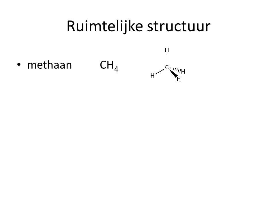 Ruimtelijke structuur methaan CH 4 ethaan