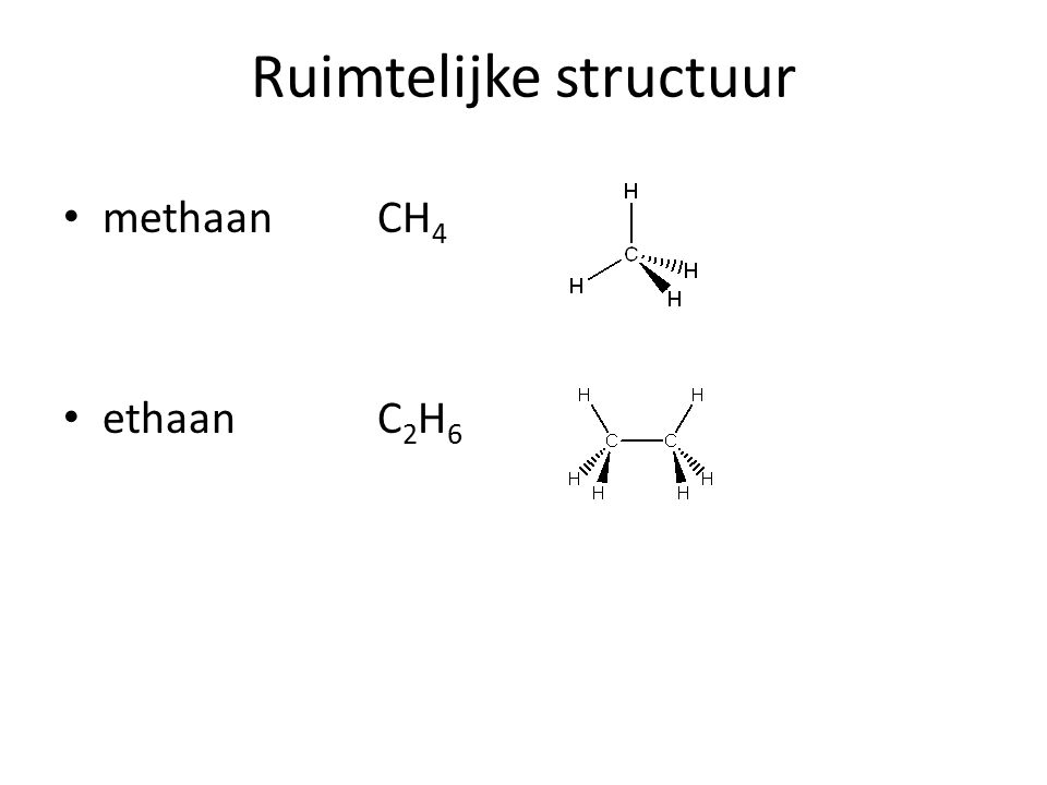 Ruimtelijke structuur methaan CH 4 ethaanC 2 H 6