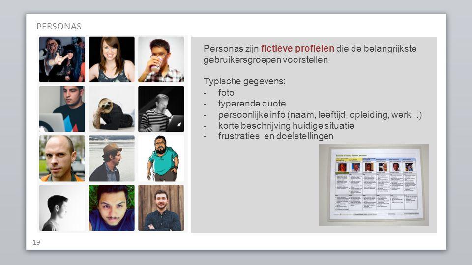 PERSONAS 19 Personas zijn fictieve profielen die de belangrijkste gebruikersgroepen voorstellen.