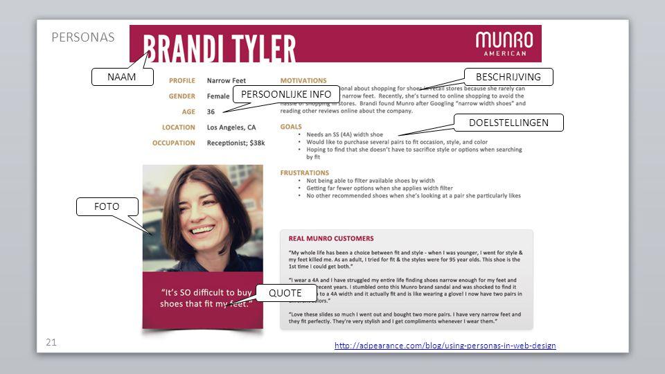 21 http://adpearance.com/blog/using-personas-in-web-design FOTO QUOTE BESCHRIJVING PERSOONLIJKE INFO DOELSTELLINGEN NAAM PERSONAS