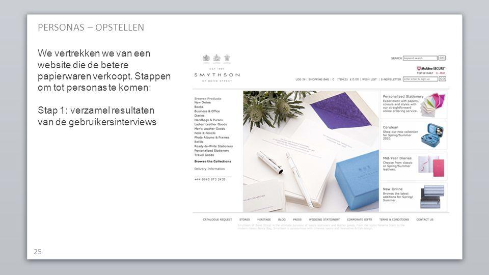 PERSONAS – OPSTELLEN 25 We vertrekken we van een website die de betere papierwaren verkoopt.
