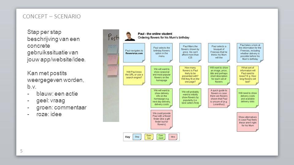 CONCEPT – SCENARIO 5 Stap per stap beschrijving van een concrete gebruikssituatie van jouw app/website/idee.