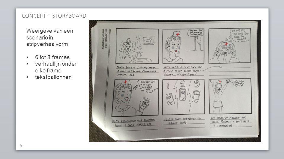 CONCEPT – STORYBOARD 6 Weergave van een scenario in stripverhaalvorm 6 tot 8 frames verhaallijn onder elke frame tekstballonnen