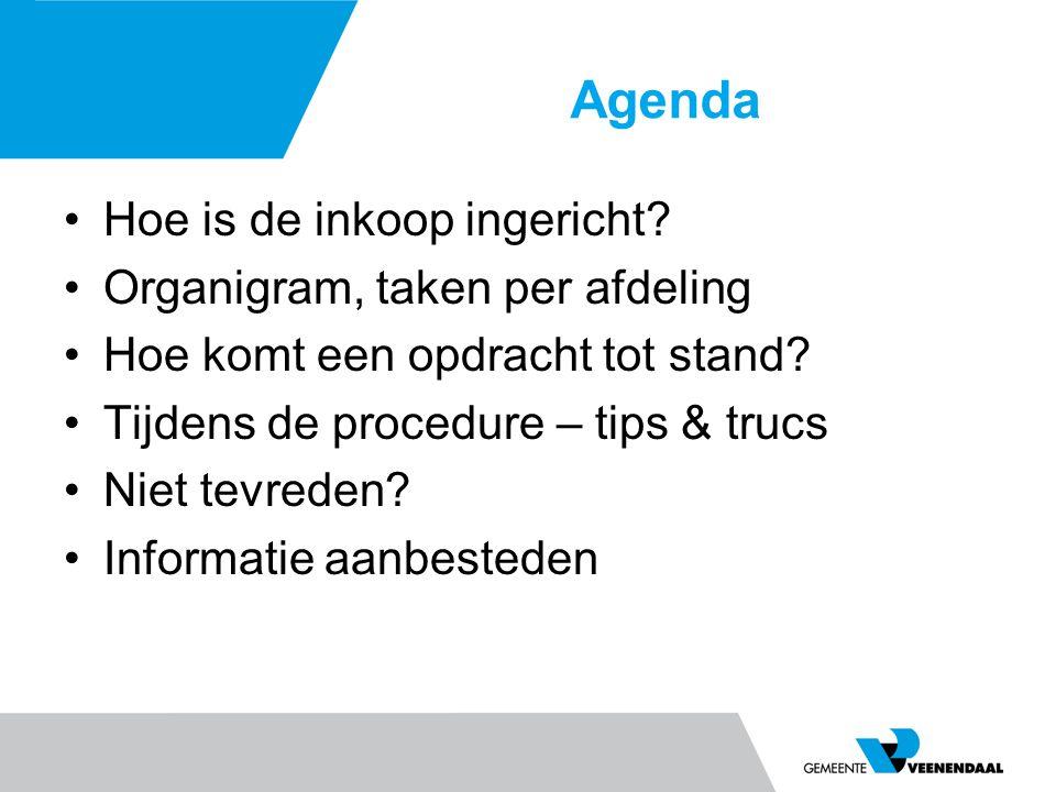Agenda Hoe is de inkoop ingericht.Organigram, taken per afdeling Hoe komt een opdracht tot stand.