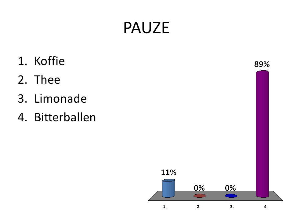 PAUZE 1.Koffie 2.Thee 3.Limonade 4.Bitterballen