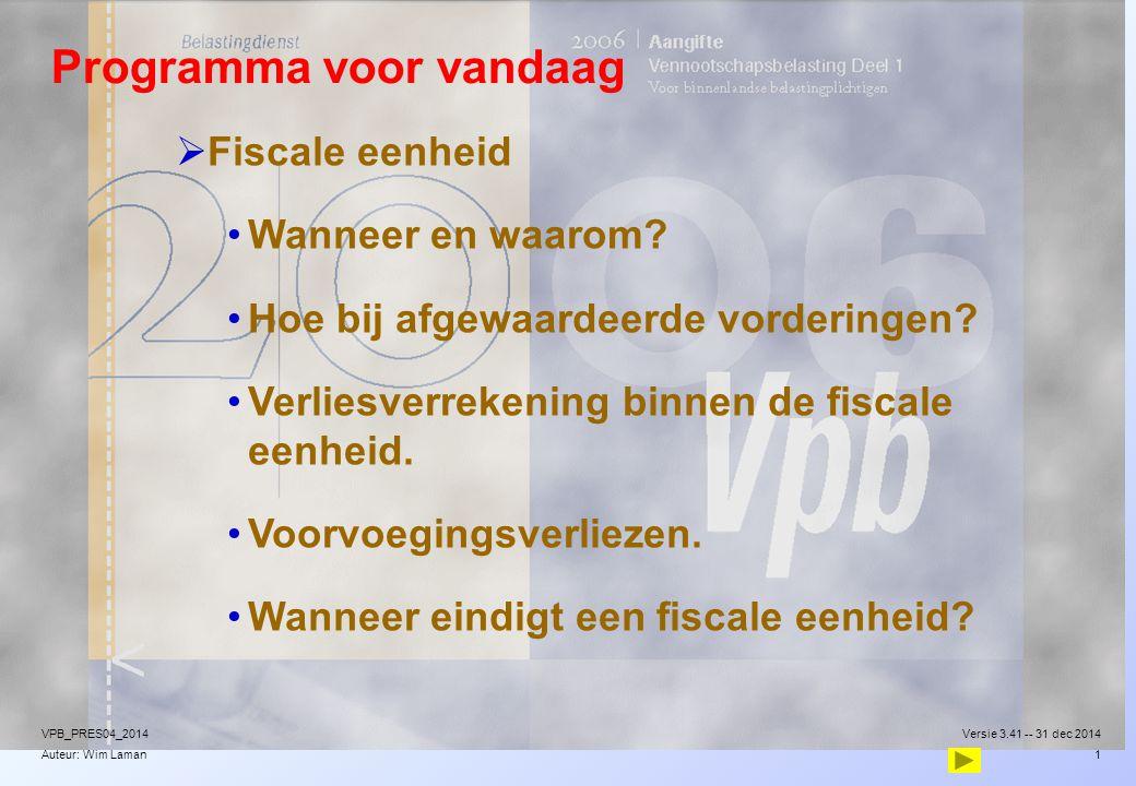 Auteur: Wim Laman Programma voor vandaag  Fiscale eenheid Wanneer en waarom? Hoe bij afgewaardeerde vorderingen? Verliesverrekening binnen de fiscale