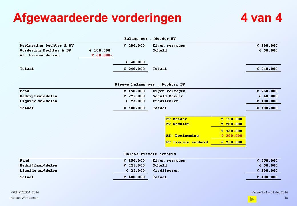 Auteur: Wim Laman Afgewaardeerde vorderingen4 van 4 Versie 3.41 -- 31 dec 2014VPB_PRES04_2014 10
