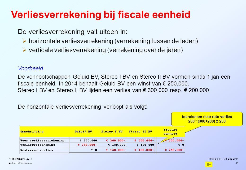 Auteur: Wim Laman Verliesverrekening bij fiscale eenheid  De verliesverrekening valt uiteen in:  horizontale verliesverrekening (verrekening tussen