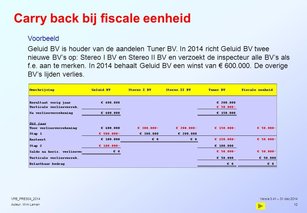 Auteur: Wim Laman Carry back bij fiscale eenheid  Voorbeeld  Geluid BV is houder van de aandelen Tuner BV. In 2014 richt Geluid BV twee nieuwe BV's