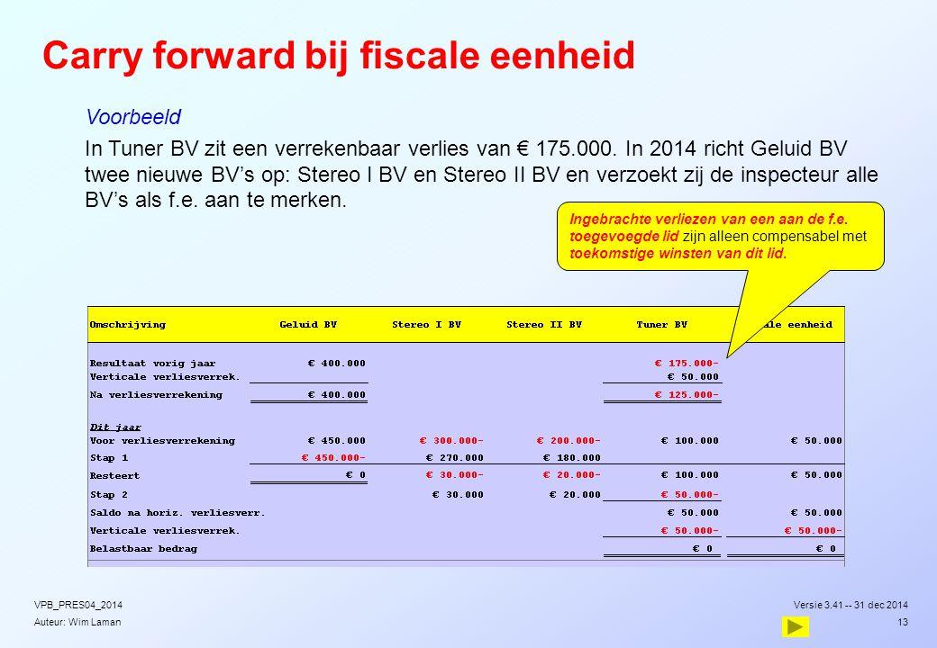 Auteur: Wim Laman  Voorbeeld  In Tuner BV zit een verrekenbaar verlies van € 175.000. In 2014 richt Geluid BV twee nieuwe BV's op: Stereo I BV en St