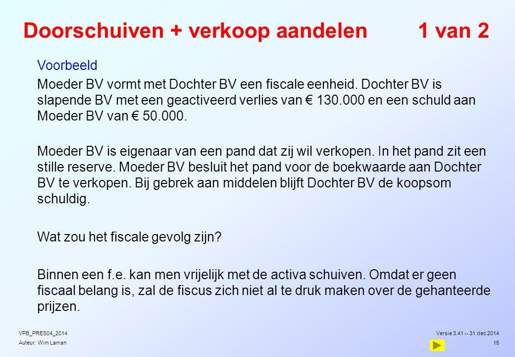 Auteur: Wim Laman Doorschuiven + verkoop aandelen1 van 2  Voorbeeld  Moeder BV vormt met Dochter BV een fiscale eenheid. Dochter BV is slapende BV m