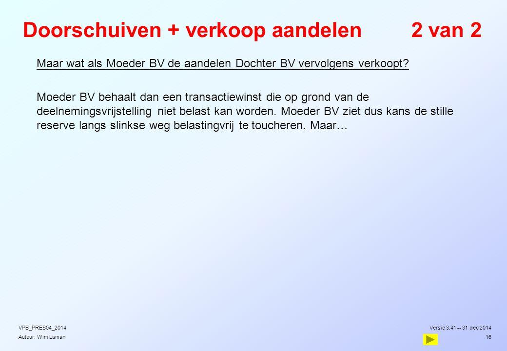 Auteur: Wim Laman Doorschuiven + verkoop aandelen2 van 2  Maar wat als Moeder BV de aandelen Dochter BV vervolgens verkoopt?  Moeder BV behaalt dan