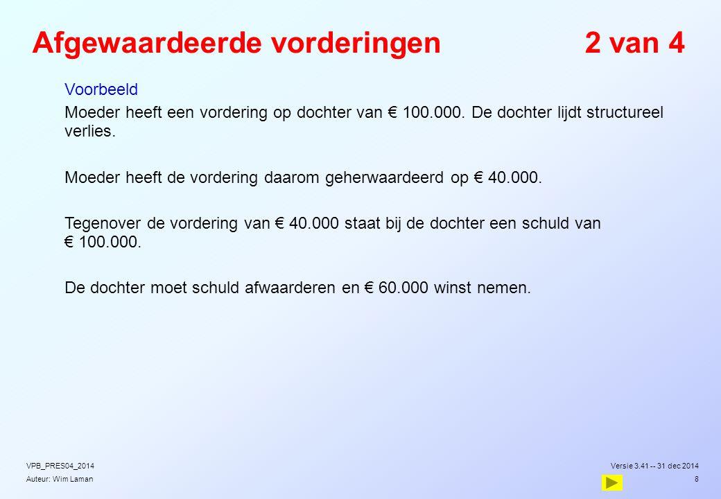 Auteur: Wim Laman Afgewaardeerde vorderingen2 van 4  Voorbeeld  Moeder heeft een vordering op dochter van € 100.000. De dochter lijdt structureel ve