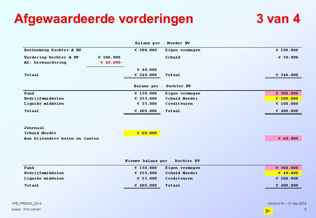 Auteur: Wim Laman Afgewaardeerde vorderingen3 van 4 Versie 3.41 -- 31 dec 2014VPB_PRES04_2014 9