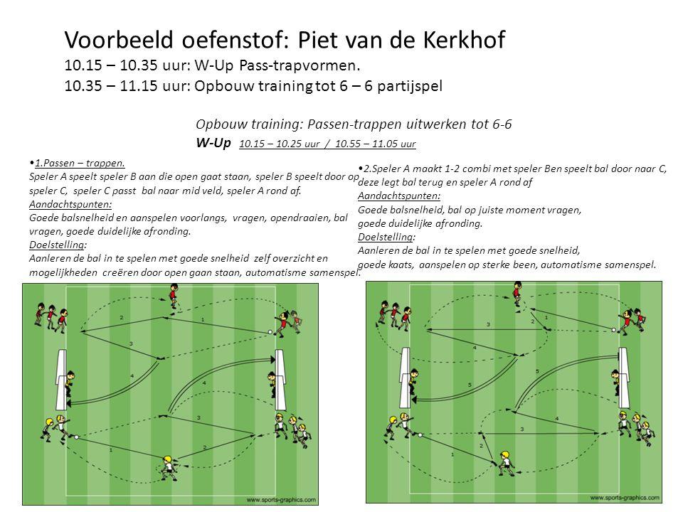 Voorbeeld oefenstof: Piet van de Kerkhof 10.15 – 10.35 uur: W-Up Pass-trapvormen. 10.35 – 11.15 uur: Opbouw training tot 6 – 6 partijspel Opbouw train