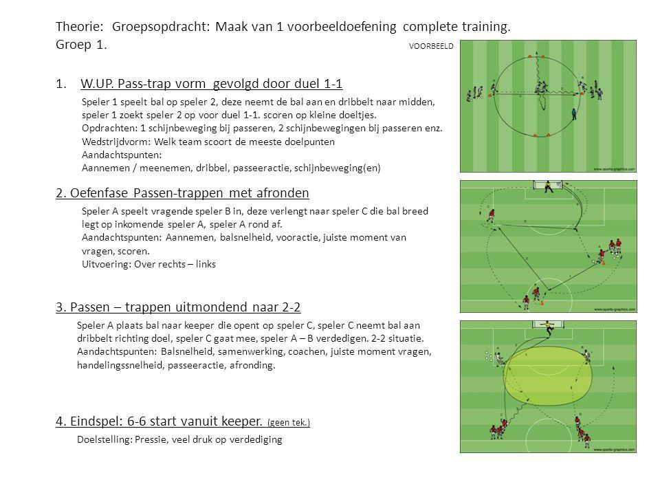 Theorie: Groepsopdracht: Maak van 1 voorbeeldoefening complete training. Groep 1. VOORBEELD 1.W.UP. Pass-trap vorm gevolgd door duel 1-1 2. Oefenfase
