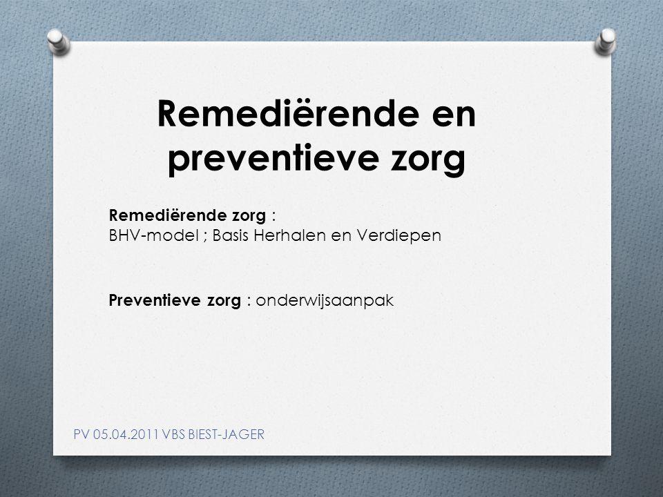 Remediërende en preventieve zorg PV 05.04.2011 VBS BIEST-JAGER Remediërende zorg : BHV-model ; Basis Herhalen en Verdiepen Preventieve zorg : onderwijsaanpak