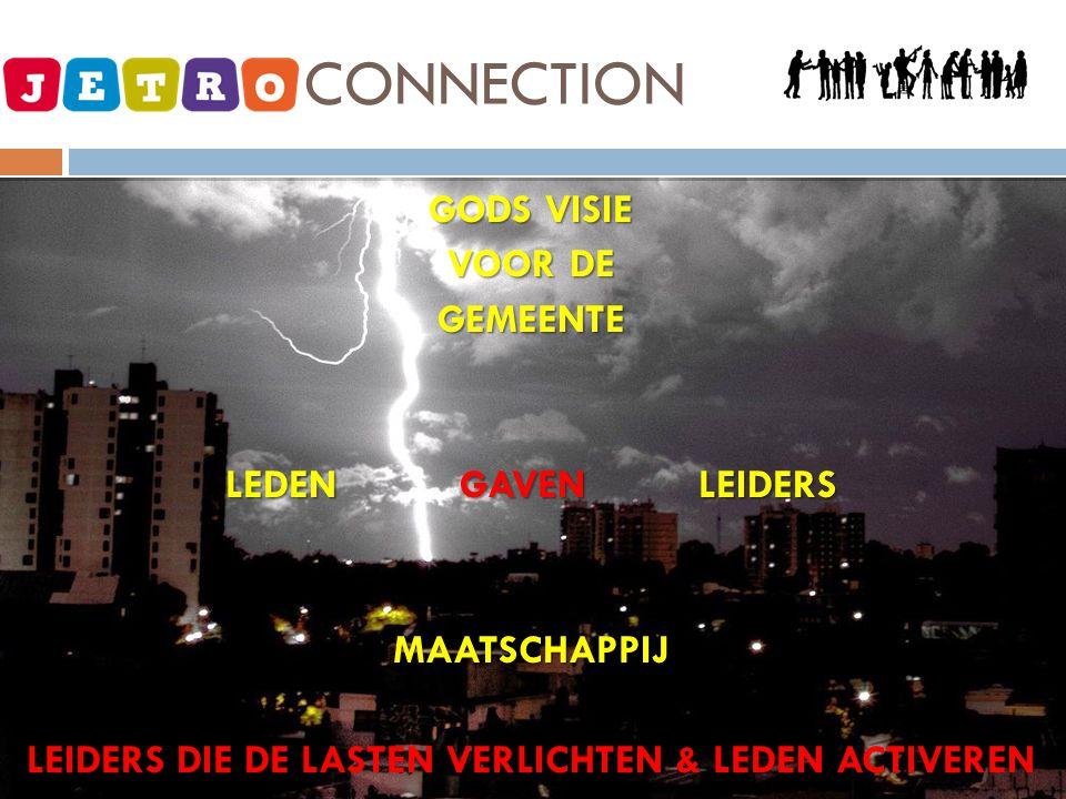 JETRO - CONNECTION GODS VISIE VOOR DE GEMEENTE LEDEN GAVEN LEIDERS MAATSCHAPPIJ LEIDERS DIE DE LASTEN VERLICHTEN & LEDEN ACTIVEREN