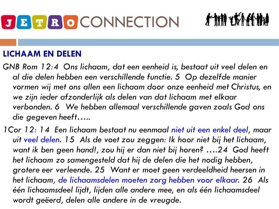 JETRO - CONNECTION JETRO = OVERVLOED, KWALITEIT CONNECTION = VERBINDEN  VERBINDINGEN ZIJN NODIG.