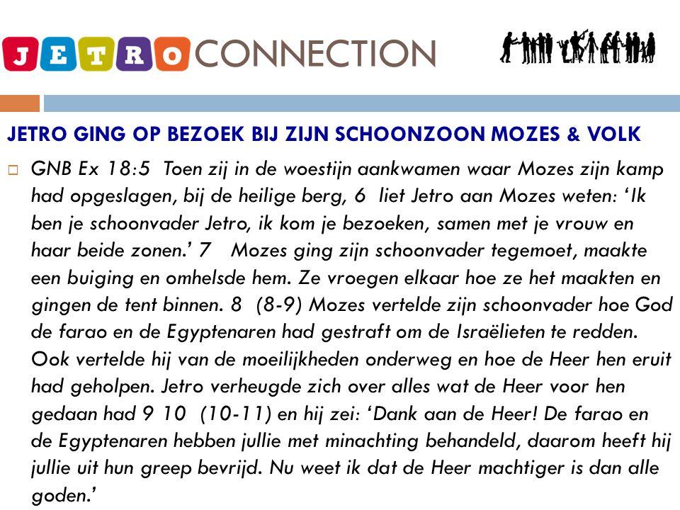 JETRO - CONNECTION JETRO GING OP BEZOEK BIJ ZIJN SCHOONZOON MOZES & VOLK  GNB Ex 18:5 Toen zij in de woestijn aankwamen waar Mozes zijn kamp had opge
