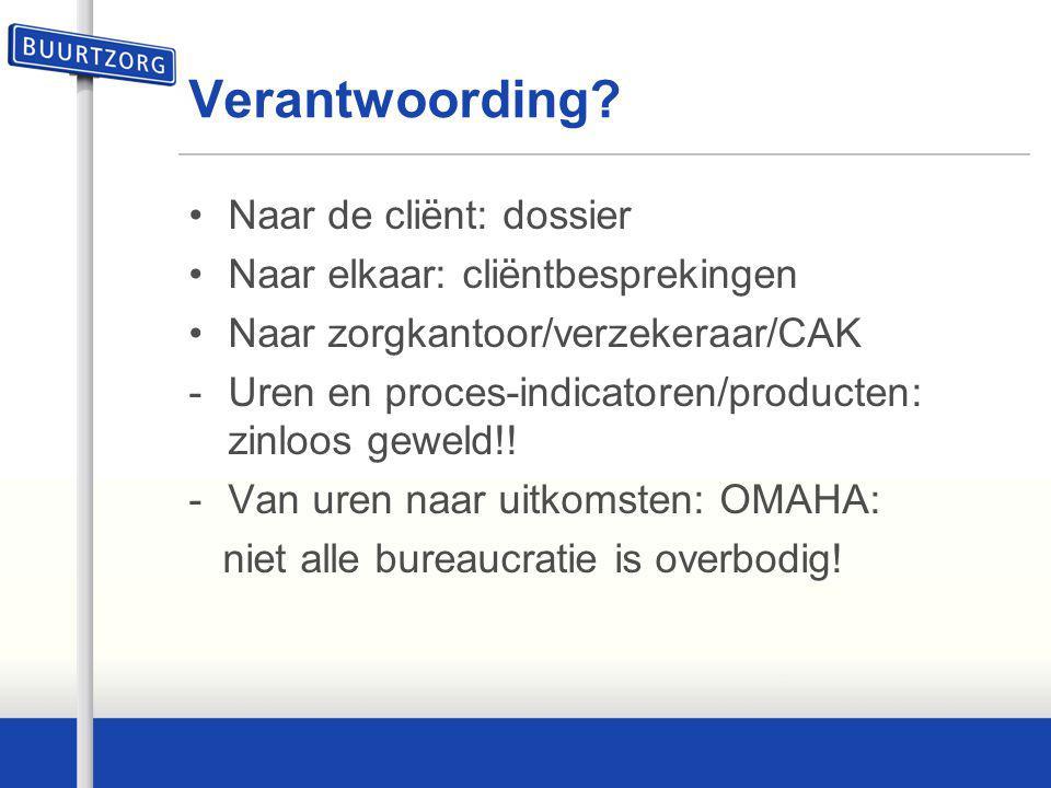 Verantwoording? Naar de cliënt: dossier Naar elkaar: cliëntbesprekingen Naar zorgkantoor/verzekeraar/CAK -Uren en proces-indicatoren/producten: zinloo