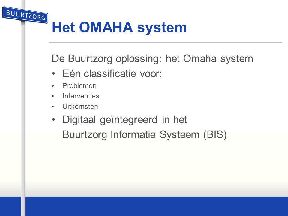 Het OMAHA system De Buurtzorg oplossing: het Omaha system Eén classificatie voor: Problemen Interventies Uitkomsten Digitaal geïntegreerd in het Buurt