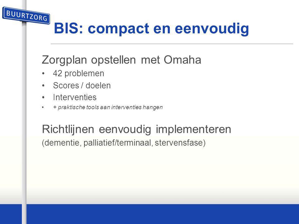 BIS: compact en eenvoudig Zorgplan opstellen met Omaha 42 problemen Scores / doelen Interventies + praktische tools aan interventies hangen Richtlijne