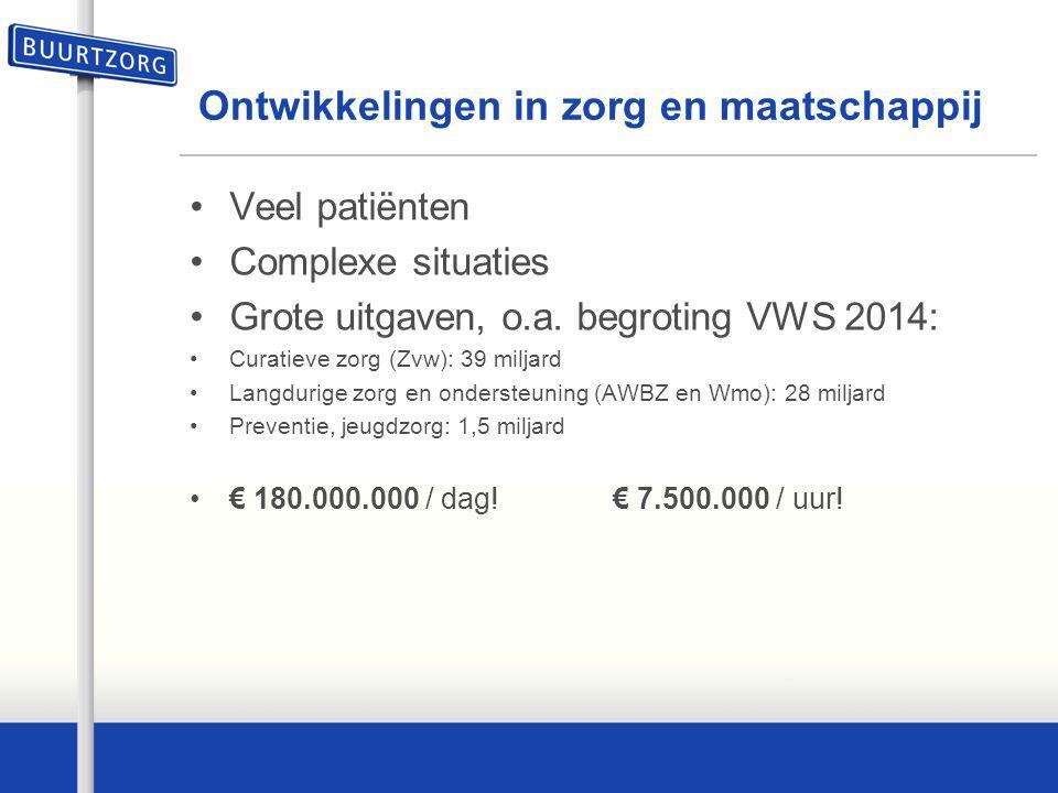 Ontwikkelingen in zorg en maatschappij Veel patiënten Complexe situaties Grote uitgaven, o.a. begroting VWS 2014: Curatieve zorg (Zvw): 39 miljard Lan