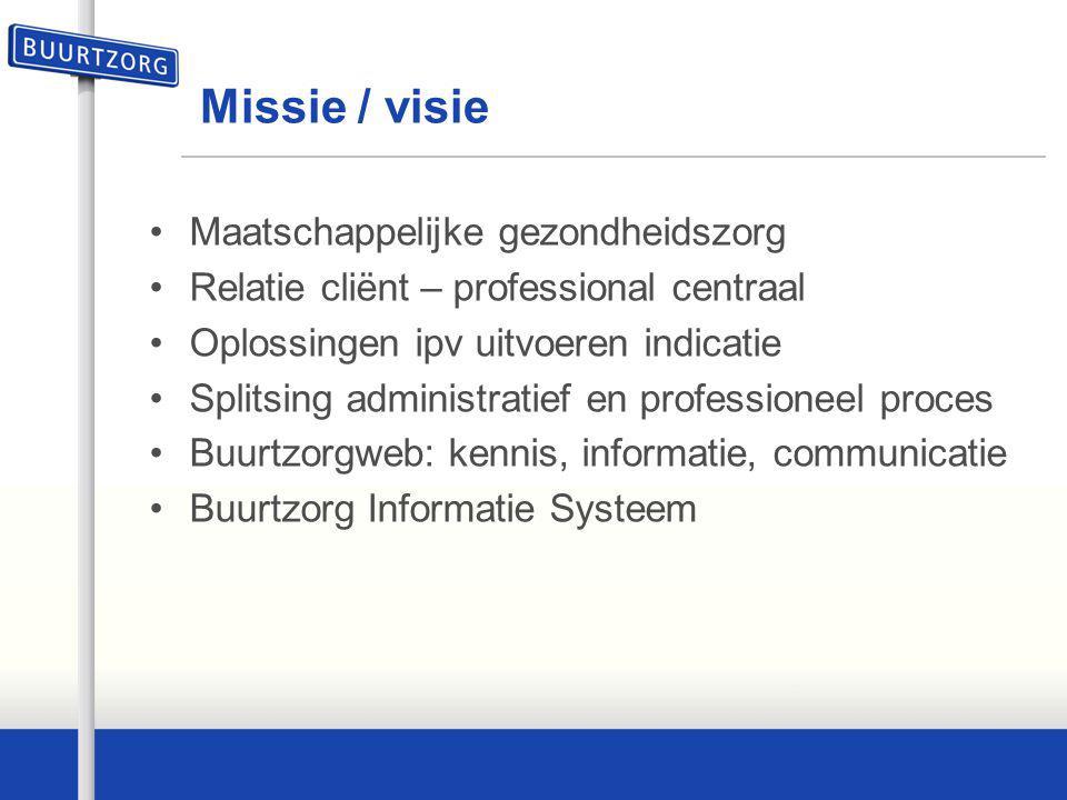 Missie / visie Maatschappelijke gezondheidszorg Relatie cliënt – professional centraal Oplossingen ipv uitvoeren indicatie Splitsing administratief en