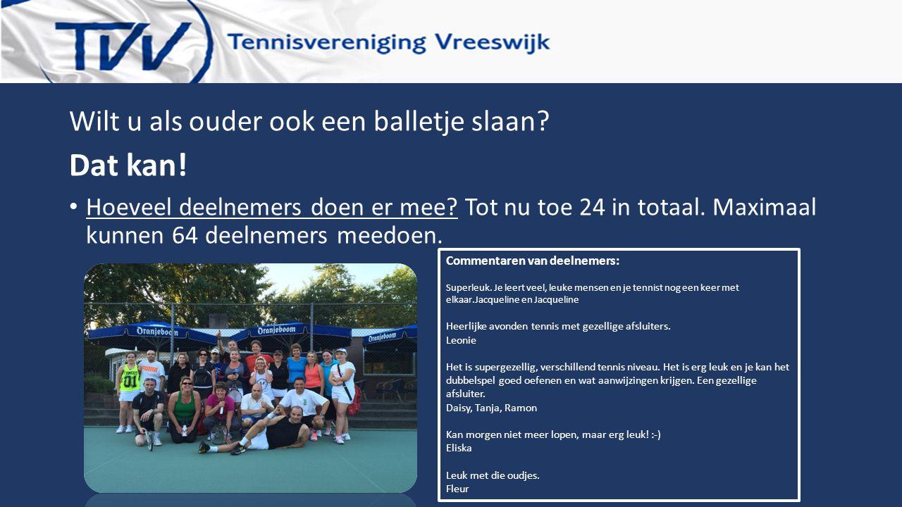 Wilt u als ouder ook een balletje slaan? Dat kan! Hoeveel deelnemers doen er mee? Tot nu toe 24 in totaal. Maximaal kunnen 64 deelnemers meedoen. Comm