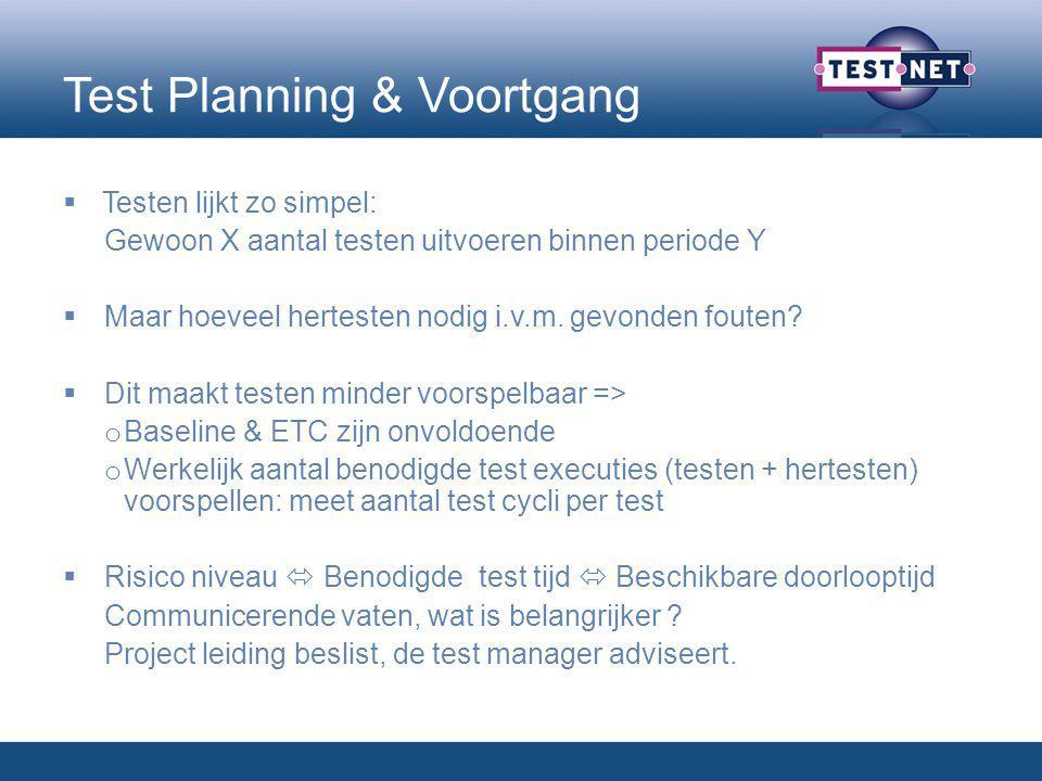 Test Planning & Voortgang  Testen lijkt zo simpel: Gewoon X aantal testen uitvoeren binnen periode Y  Maar hoeveel hertesten nodig i.v.m.
