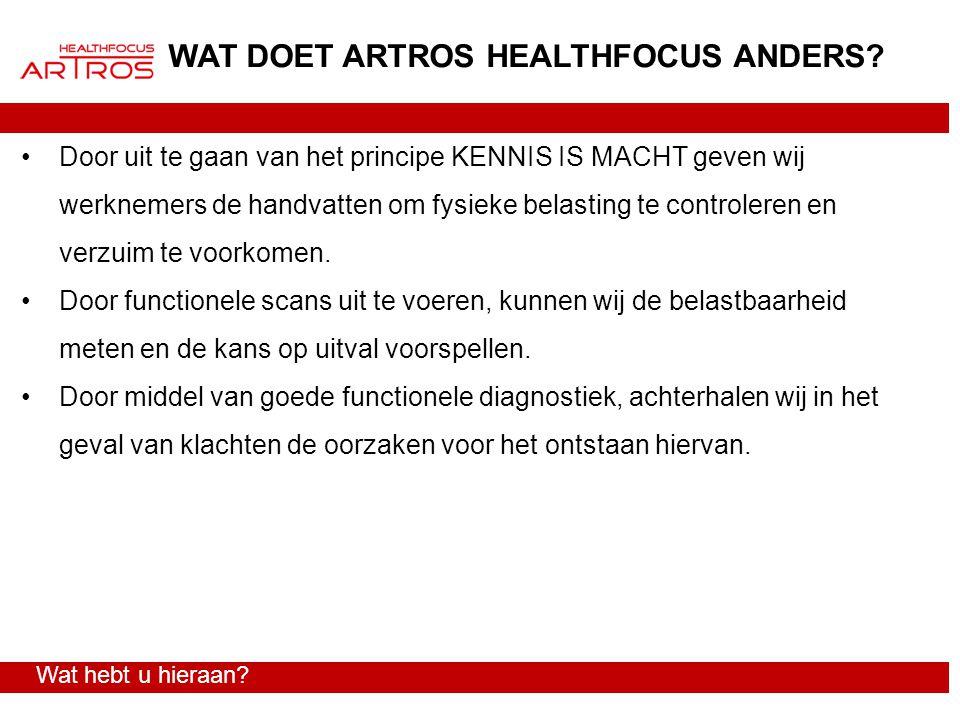 WAT DOET ARTROS HEALTHFOCUS ANDERS? Door uit te gaan van het principe KENNIS IS MACHT geven wij werknemers de handvatten om fysieke belasting te contr