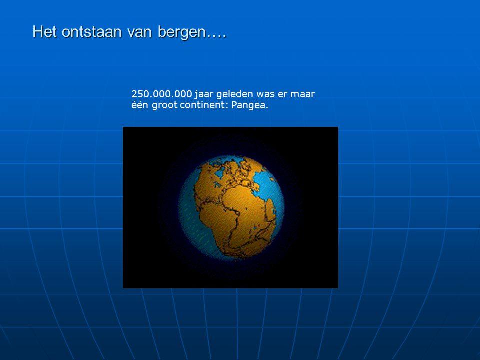 Het ontstaan van bergen…. 250.000.000 jaar geleden was er maar één groot continent: Pangea.