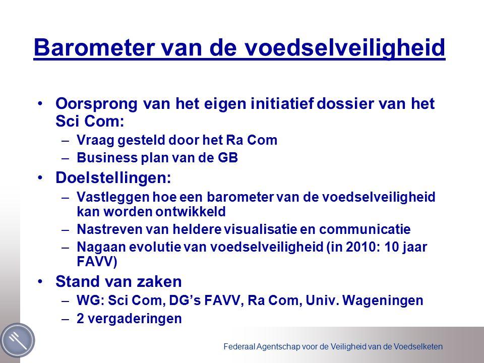 Barometer van de voedselveiligheid Oorsprong van het eigen initiatief dossier van het Sci Com: –Vraag gesteld door het Ra Com –Business plan van de GB Doelstellingen: –Vastleggen hoe een barometer van de voedselveiligheid kan worden ontwikkeld –Nastreven van heldere visualisatie en communicatie –Nagaan evolutie van voedselveiligheid (in 2010: 10 jaar FAVV) Stand van zaken –WG: Sci Com, DG's FAVV, Ra Com, Univ.