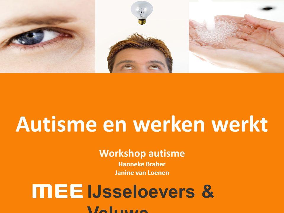 Autisme en werken werkt Workshop autisme Hanneke Braber Janine van Loenen IJsseloevers & Veluwe
