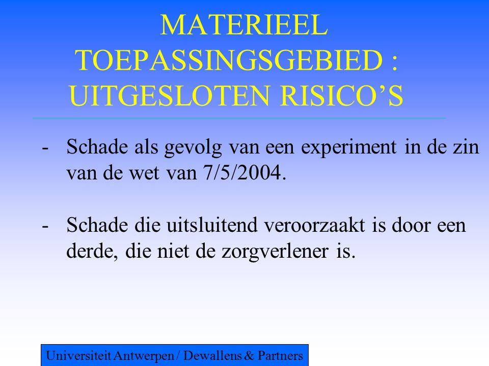 MATERIEEL TOEPASSINGSGEBIED : UITGESLOTEN RISICO'S -Schade als gevolg van een experiment in de zin van de wet van 7/5/2004. -Schade die uitsluitend ve