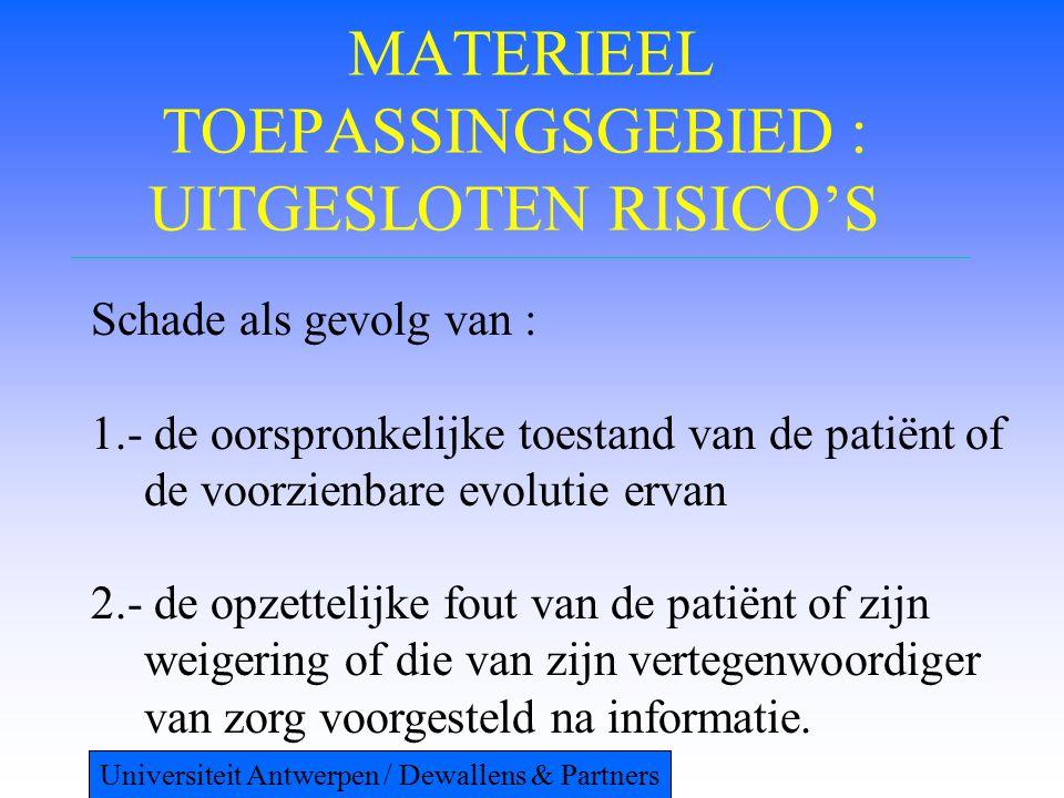 MATERIEEL TOEPASSINGSGEBIED : UITGESLOTEN RISICO'S Schade als gevolg van : 1.- de oorspronkelijke toestand van de patiënt of de voorzienbare evolutie