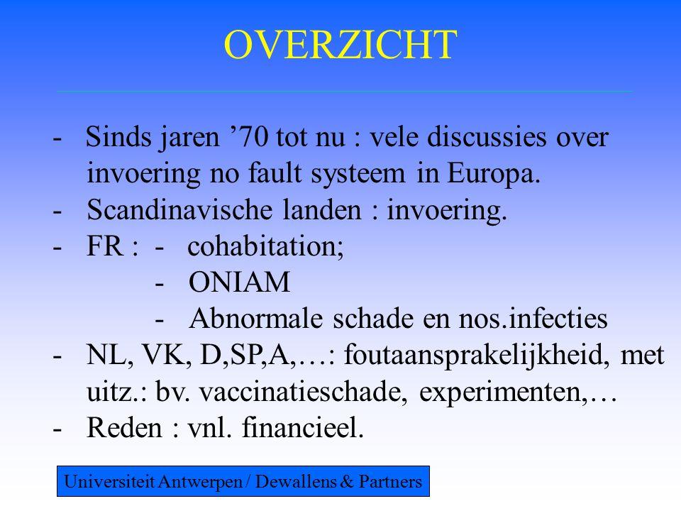 OVERZICHT - Sinds jaren '70 tot nu : vele discussies over invoering no fault systeem in Europa. -Scandinavische landen : invoering. -FR : - cohabitati