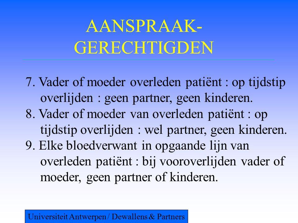 AANSPRAAK- GERECHTIGDEN 7. Vader of moeder overleden patiënt : op tijdstip overlijden : geen partner, geen kinderen. 8. Vader of moeder van overleden
