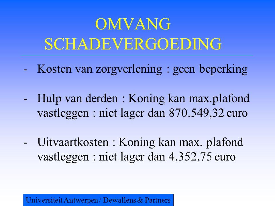 OMVANG SCHADEVERGOEDING -Kosten van zorgverlening : geen beperking -Hulp van derden : Koning kan max.plafond vastleggen : niet lager dan 870.549,32 euro -Uitvaartkosten : Koning kan max.