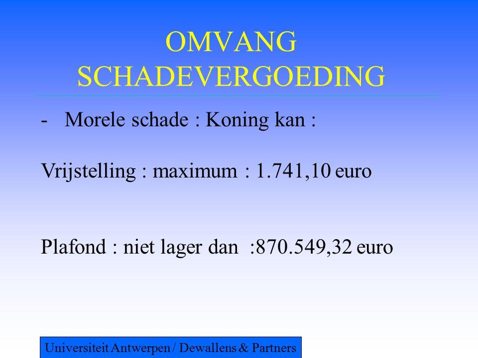 OMVANG SCHADEVERGOEDING -Morele schade : Koning kan : Vrijstelling : maximum : 1.741,10 euro Plafond : niet lager dan :870.549,32 euro Universiteit An