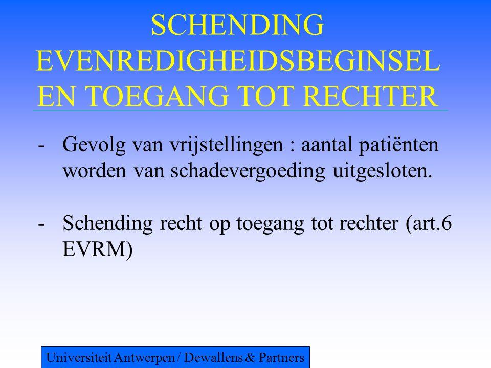 SCHENDING EVENREDIGHEIDSBEGINSEL EN TOEGANG TOT RECHTER -Gevolg van vrijstellingen : aantal patiënten worden van schadevergoeding uitgesloten. -Schend
