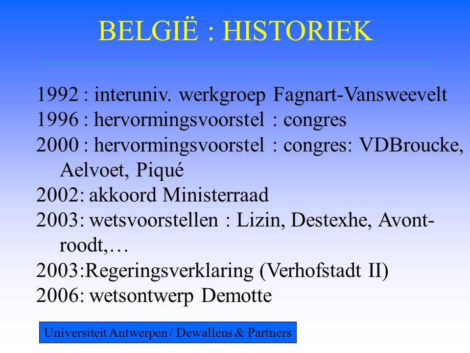 BELGIË : HISTORIEK 1992 : interuniv. werkgroep Fagnart-Vansweevelt 1996 : hervormingsvoorstel : congres 2000 : hervormingsvoorstel : congres: VDBrouck