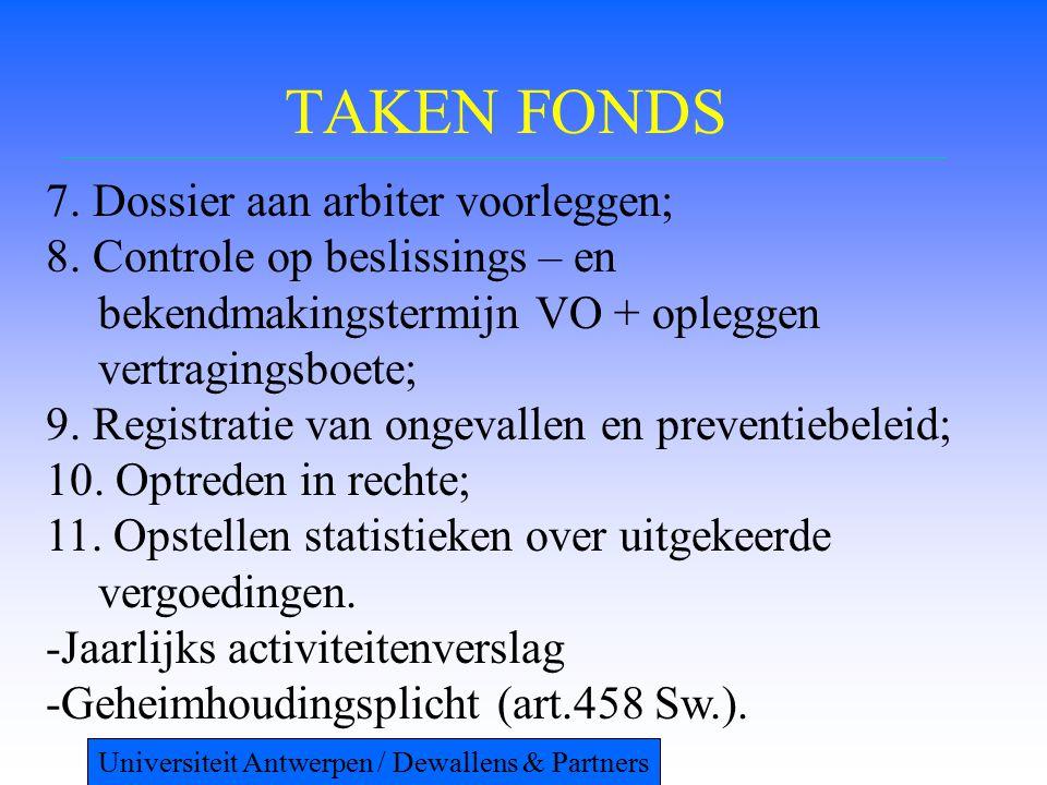 TAKEN FONDS 7. Dossier aan arbiter voorleggen; 8. Controle op beslissings – en bekendmakingstermijn VO + opleggen vertragingsboete; 9. Registratie van